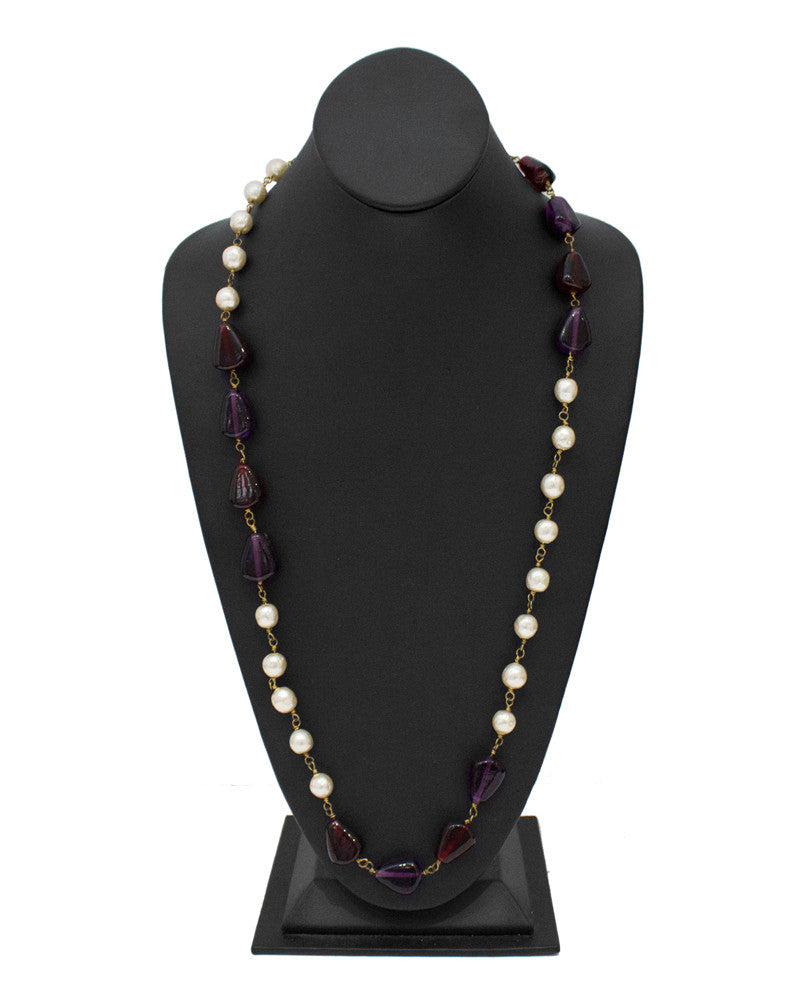 Faux Pearl and Poured Glass Necklace