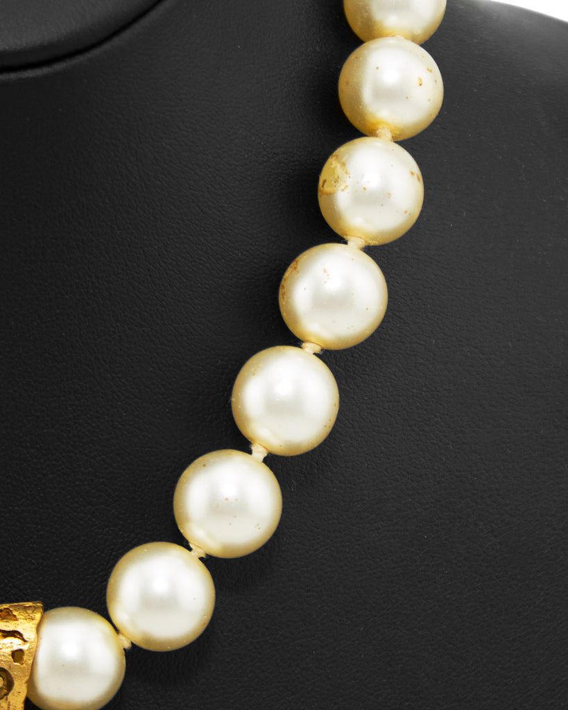 Pearl Necklace with Gold Tone Filigree Pendant and Red Poured Glass