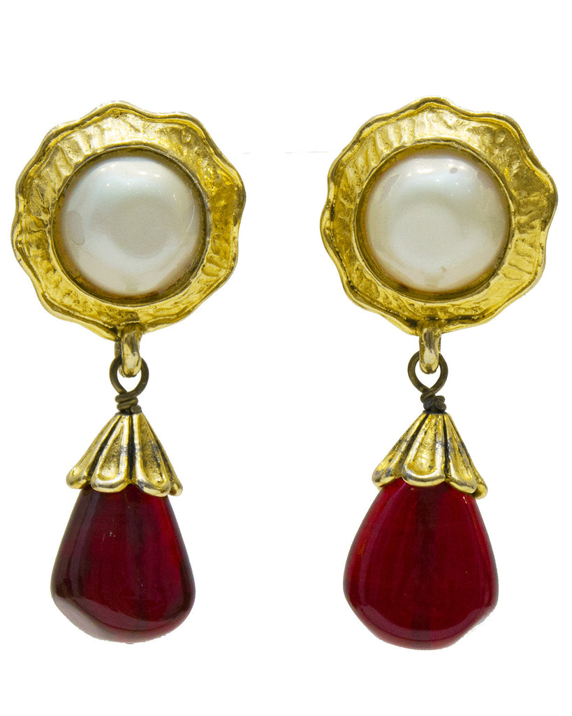Early 1980's Pearl and Poured Glass Drop Earrings