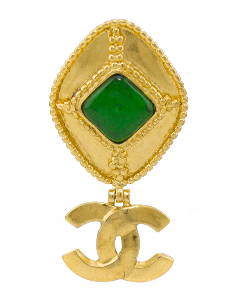 1996 Fall Collection Chanel Pin with Green Stone