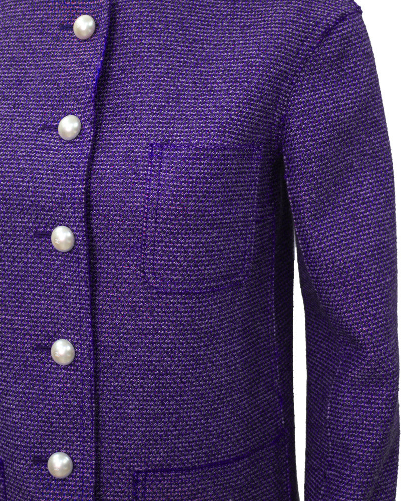 Purple Tweed Jacket with Pearl Buttons