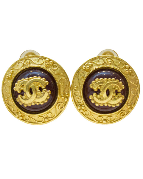 1996 Autumn Glass And Gold Plated Clip On Earrings