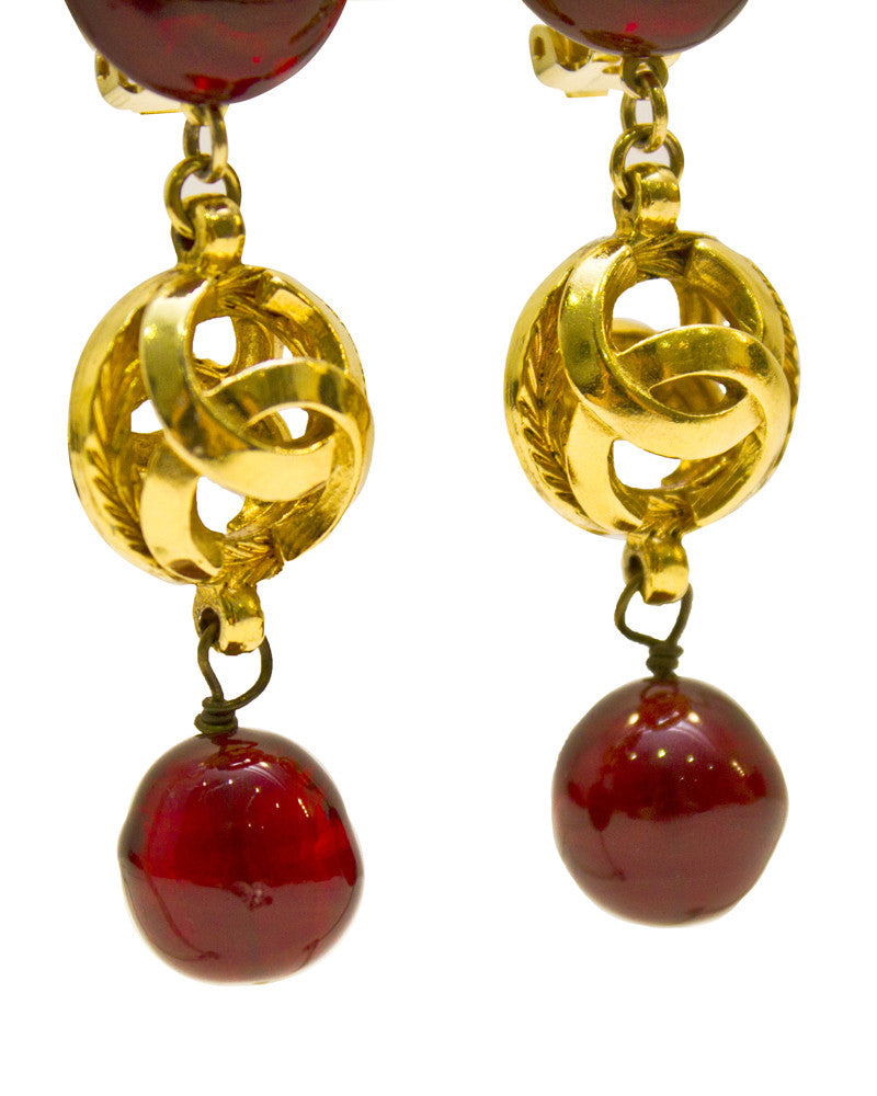 Gold-tone and poured glass drop earrings