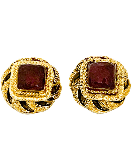 Gold Tone and Red Poured Glass Earrings