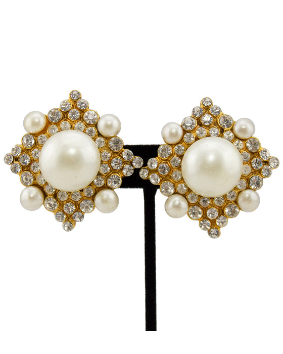 Pearl and Rhinestone Clip Earrings Col. 26