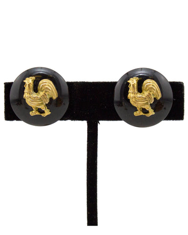 1994 Autumn Chanel Black Earrings with Gilt Roosters