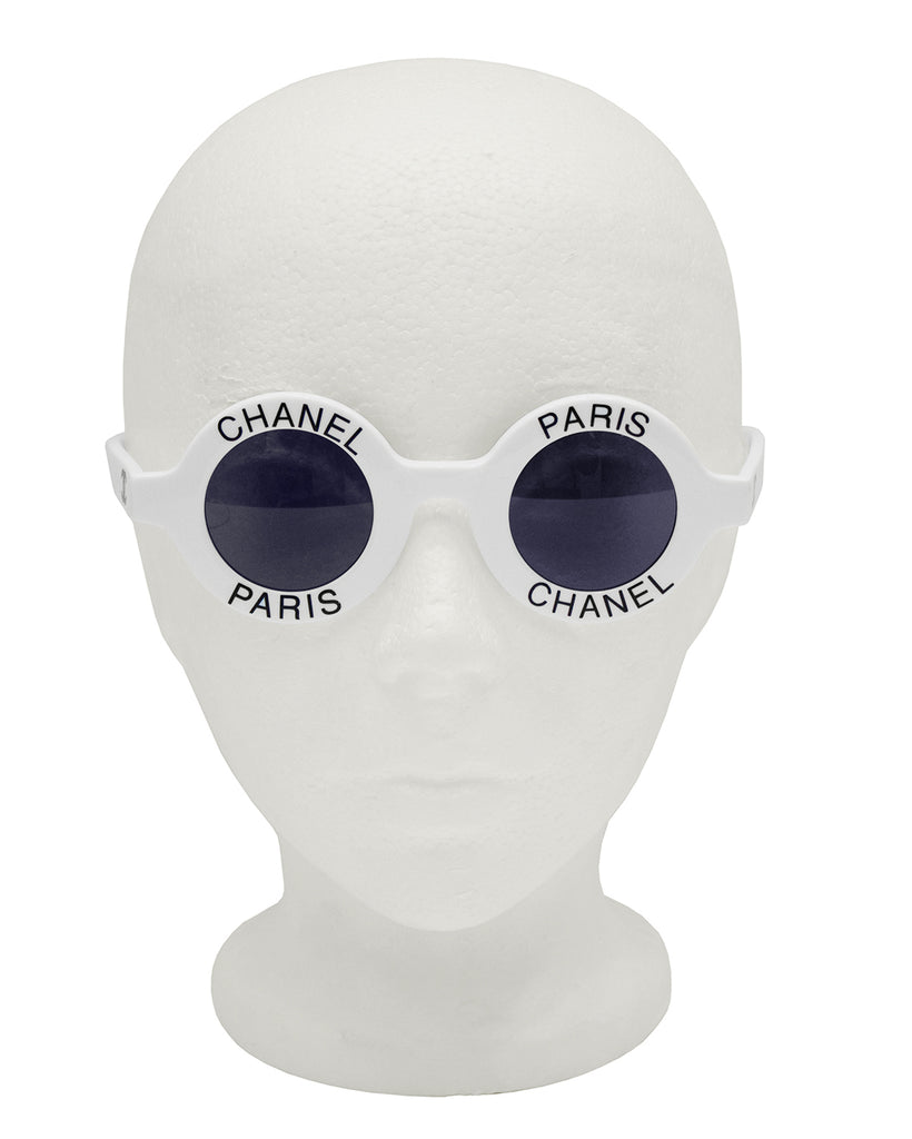 White Chanel Paris Round Sunglasses