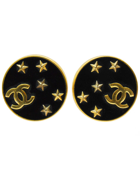Black and Gold Round CC Earrings with Stars