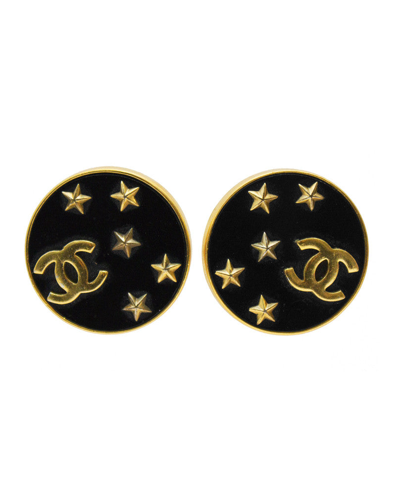 Round CC Earrings with Stars