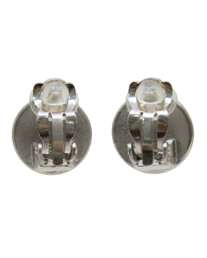 Silver Button Shape Clip Earrings