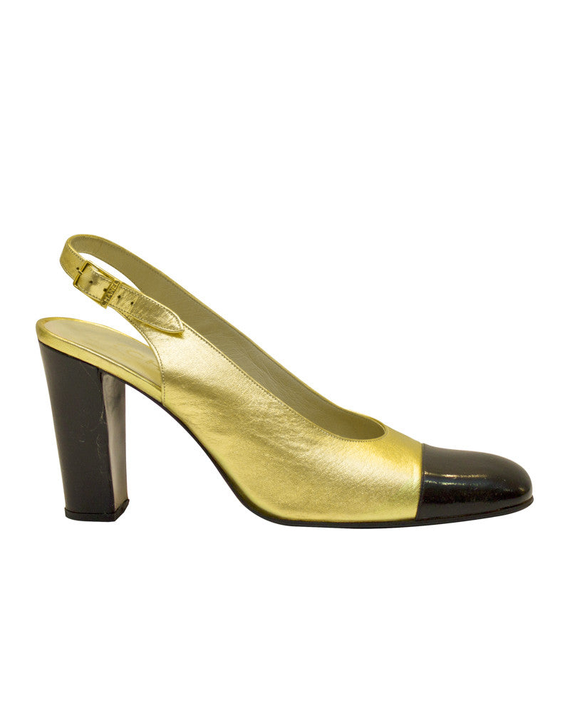 Gold sling back pumps