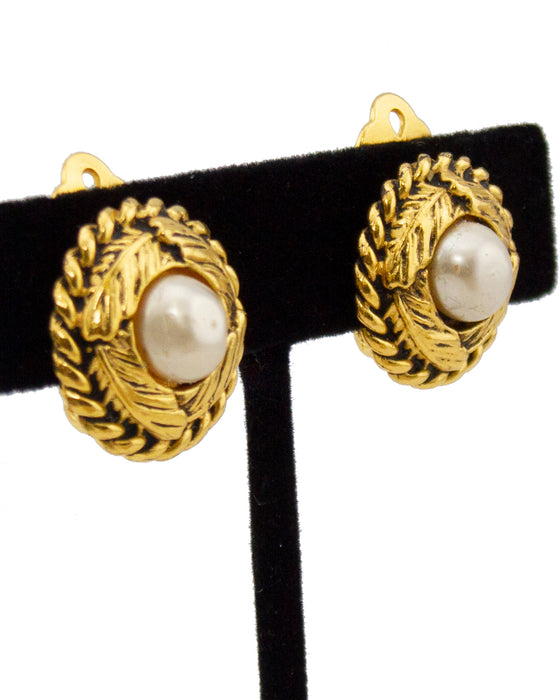 Early 1980s Clip On Earrings with Pearl Centers