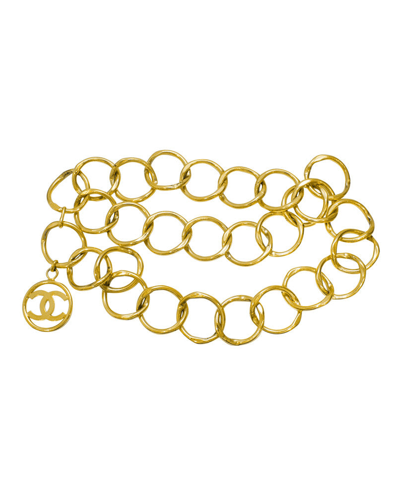 Gold tone large chain link belt