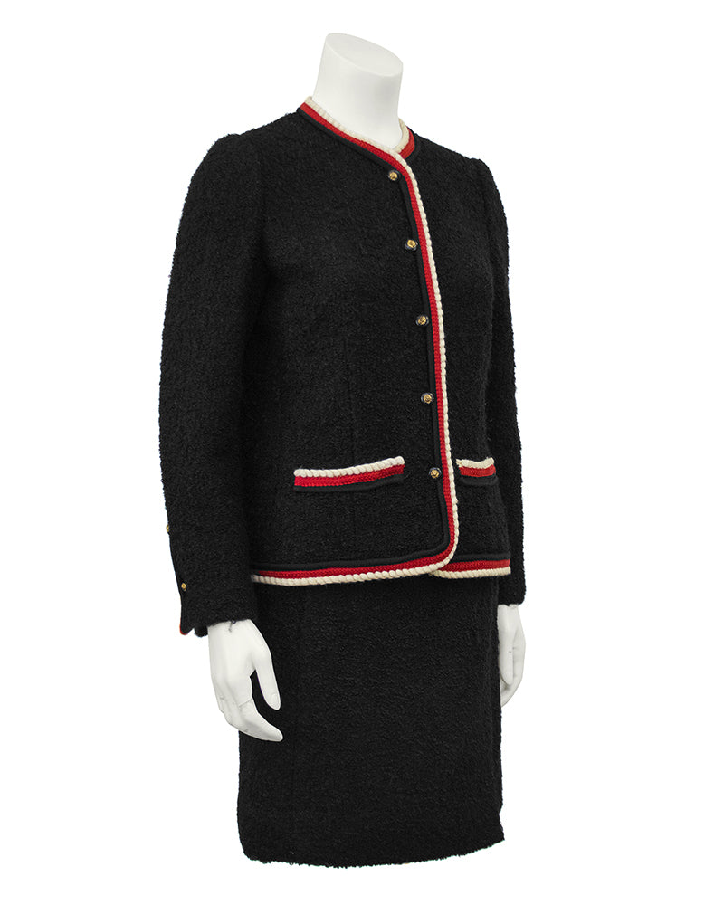 Black, Red and White Boucle Skirt Suit