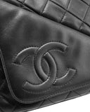 Black Quilted Lambskin Leather Diagonal Pocket Camera Bag