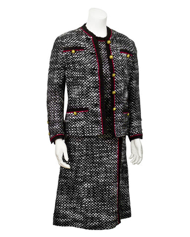 Black & White Boucle Dress, Jacket & Scarf