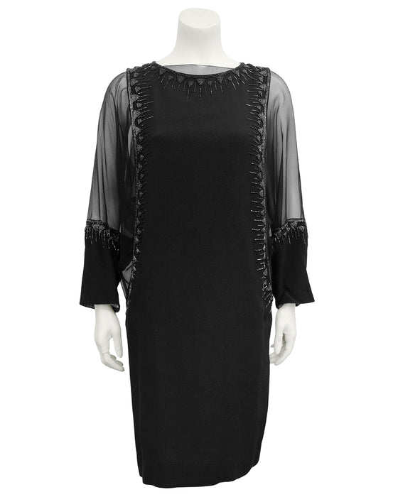 Black Sheer Beaded Cocktail Dress