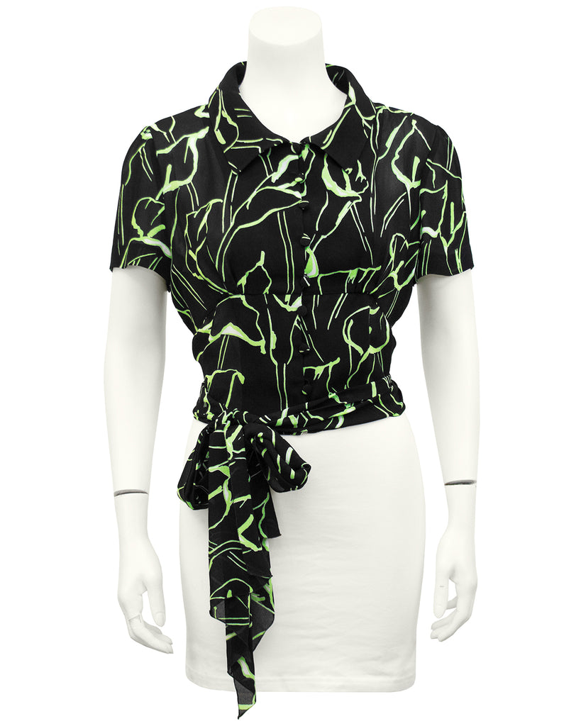 Black and Green Calla Lily Print Crop Blouse