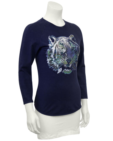 Blue Graphic Tiger Long Sleeve Shirt