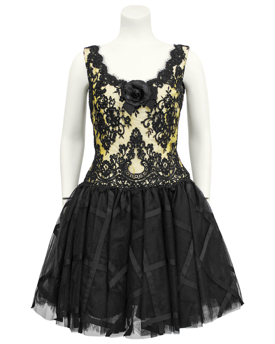 Yellow and Black Lace & Tulle Cocktail Dress