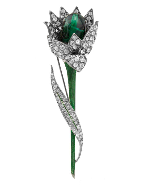 Rhinestone and Emerald Green Cabochon Flower Brooch