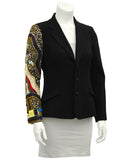 Black Wool Blazer with Jewelled Arm
