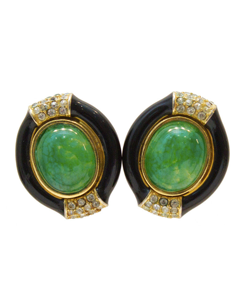 Black Enamel and Green Clip-on Earrings