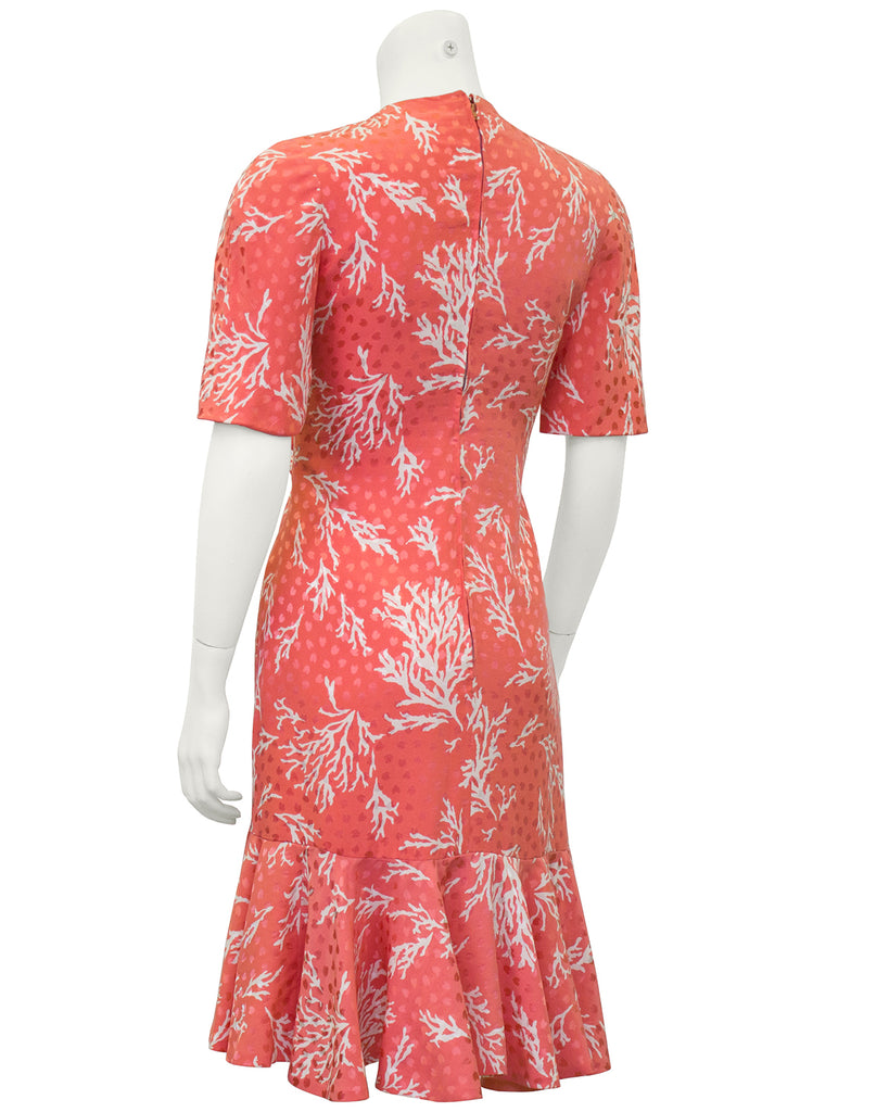 Coral Silk Jacquard Haute Couture Dress