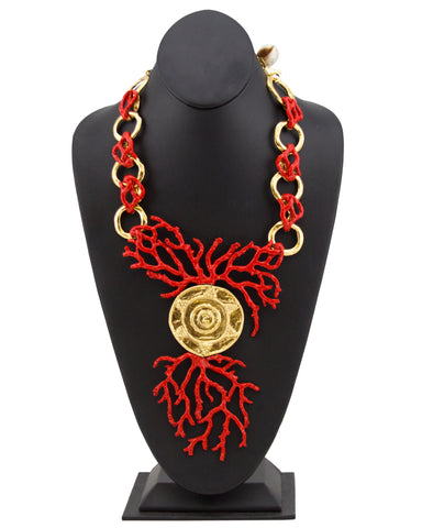 Red Enamel & Gold Coral Necklace