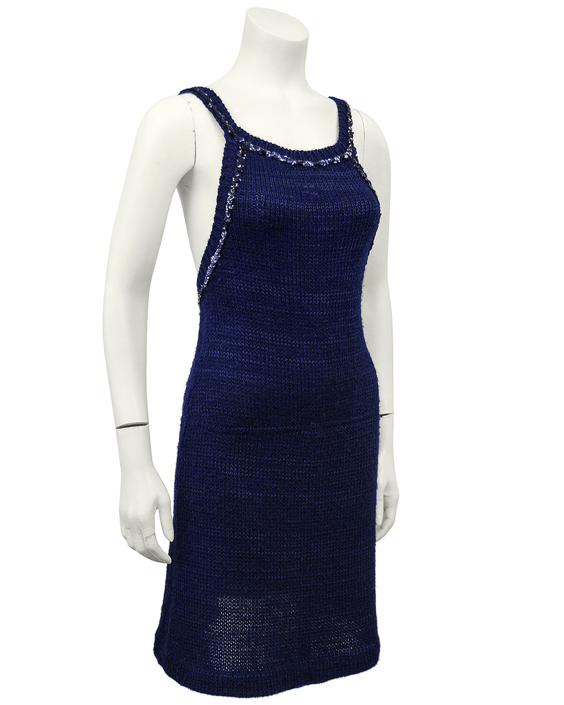Navy Blue Knit Halter Dress with Sequin Trim