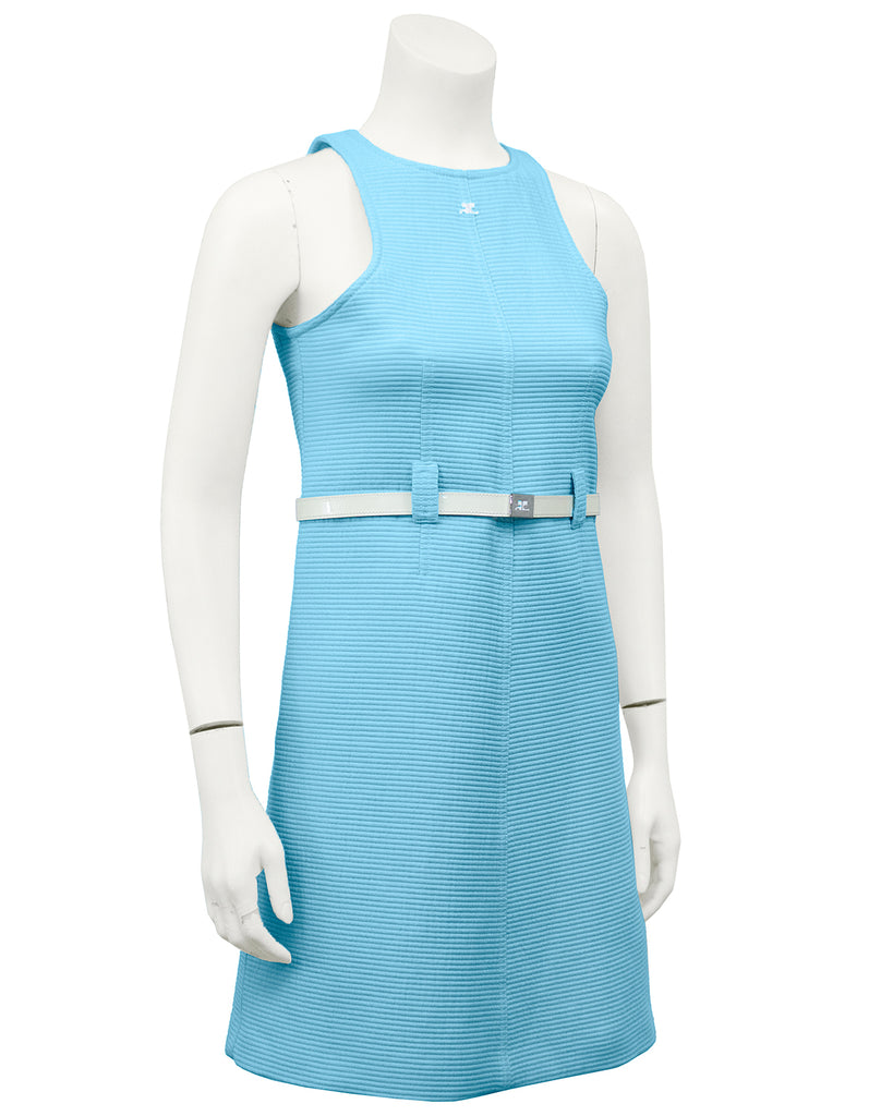 Blue Cotton Ribbed Day Dress with White Belt