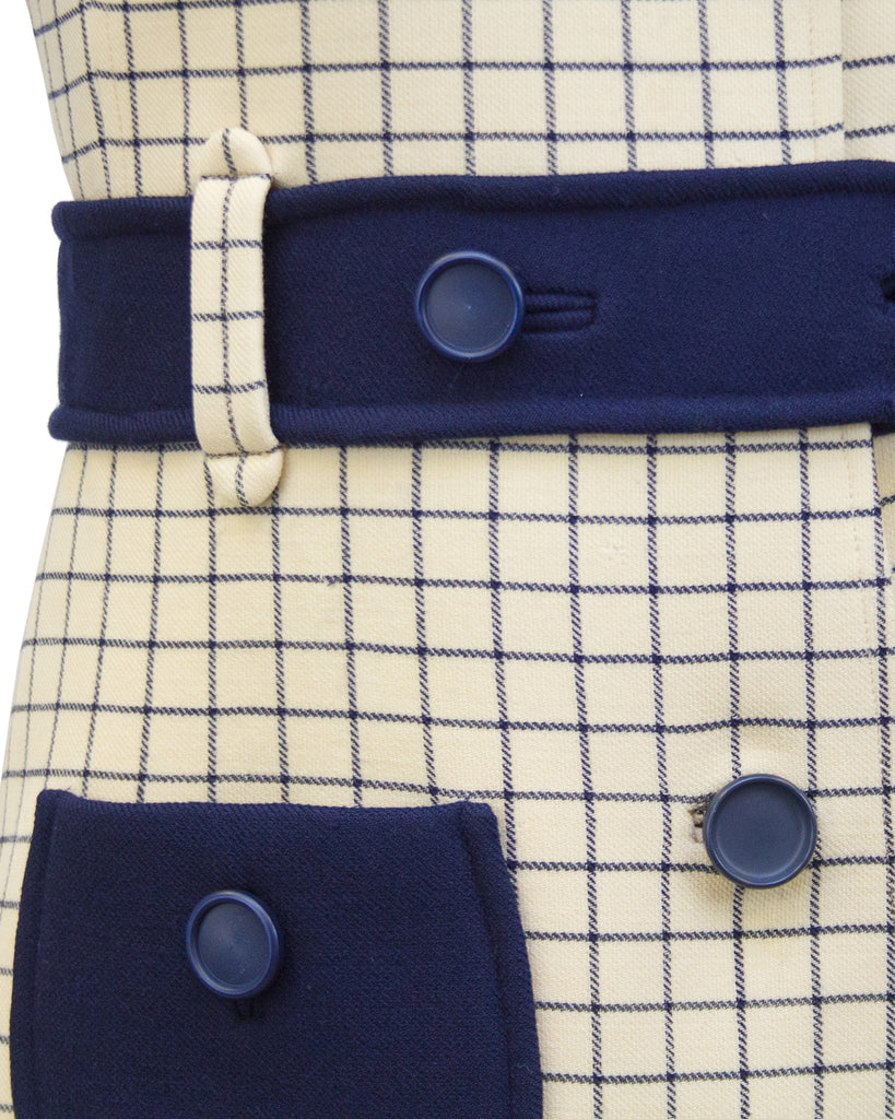 Cream and Navy Blue Windowpane Day Dress
