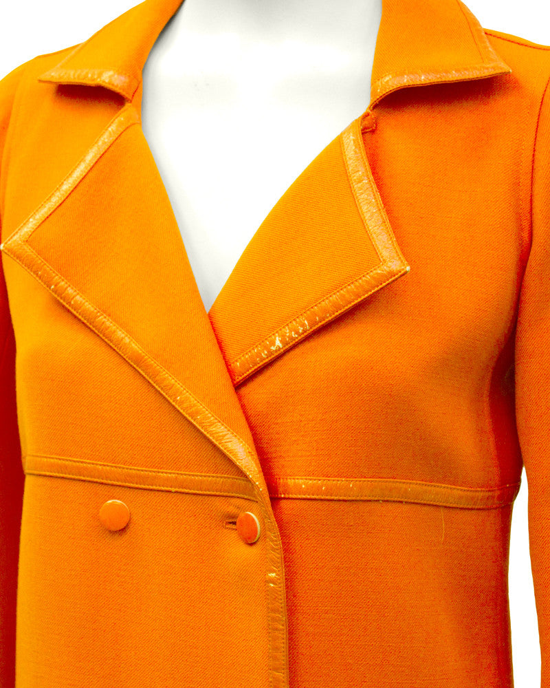 Orange Mod Coat with Vinyl Trim