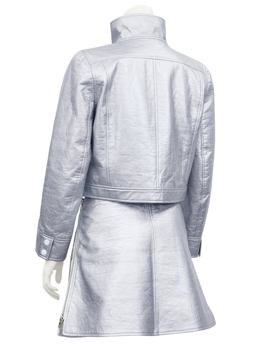 Silver Jacket and Skirt Ensemble