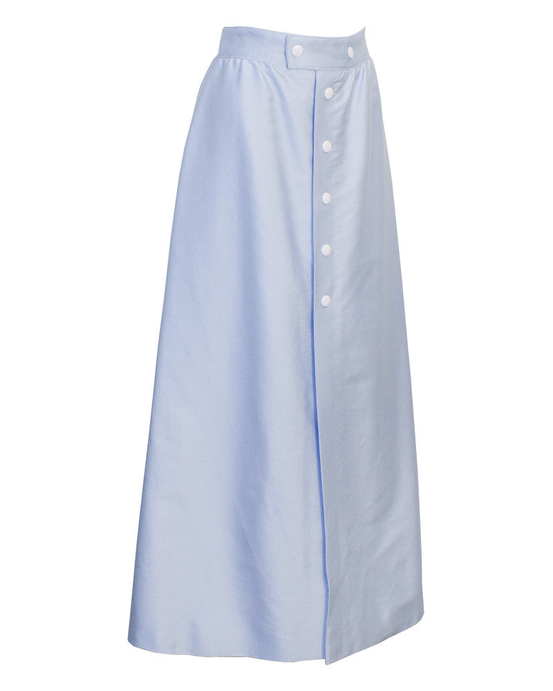Blue Button Front Midi Skirt
