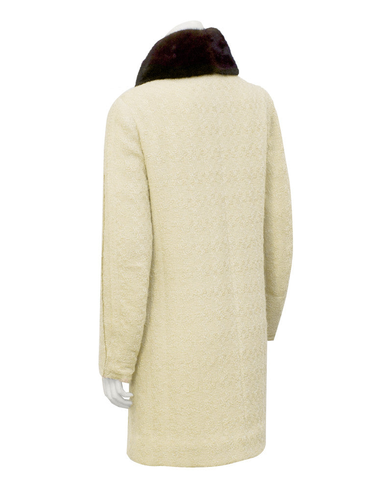 Cream Couture Boucle Coat with Mink Collar