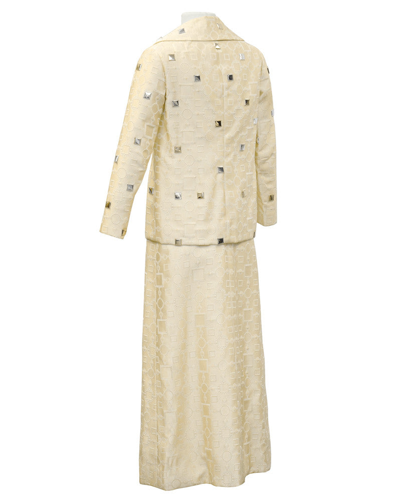 Cream Dress and Jacket with Silver Paillettes