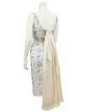 Cream and Blue Floral Embroidered Satin Cocktail Dress