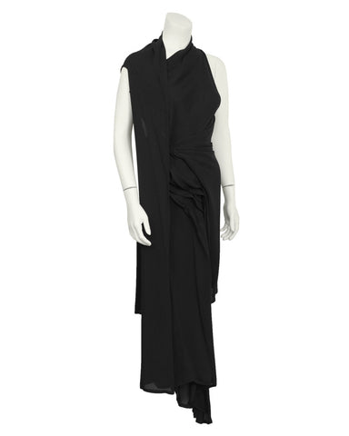 Black Drape Front Dress