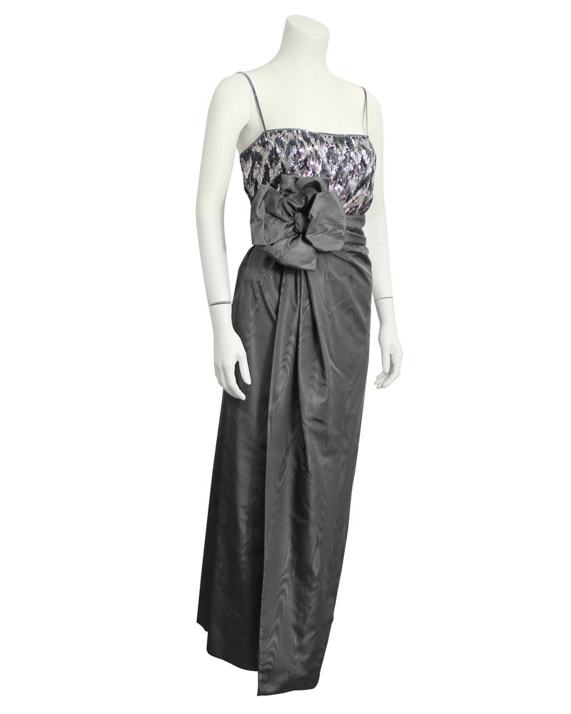 Grey Silk and Beaded Couture Ensemble