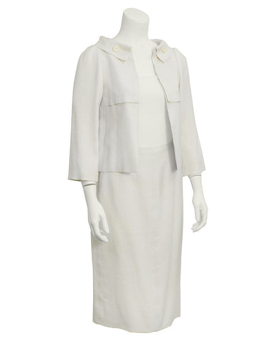 Cream Linen Couture Skirt Suit