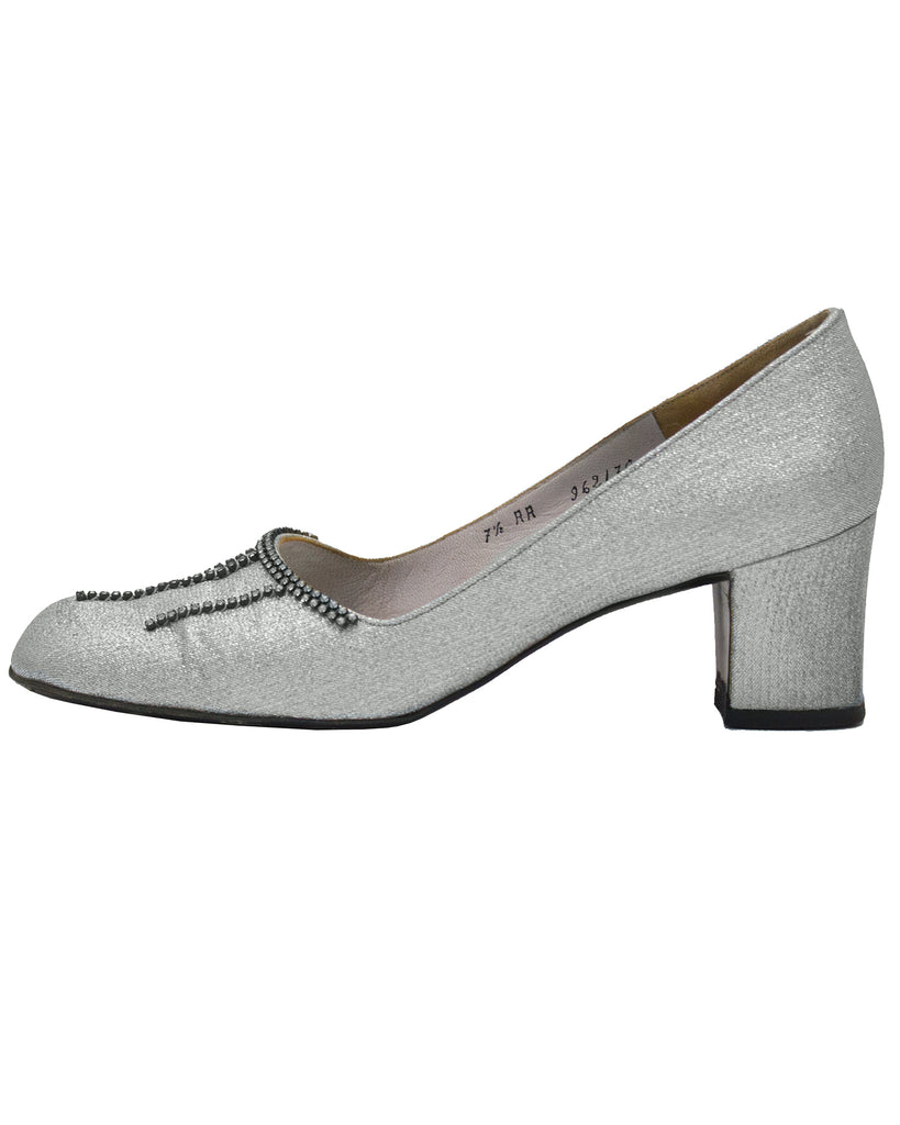 Silver Chink Couture Heels with Diamante Detail