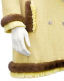 Yellow Bouclé Jacket with Mink Trim