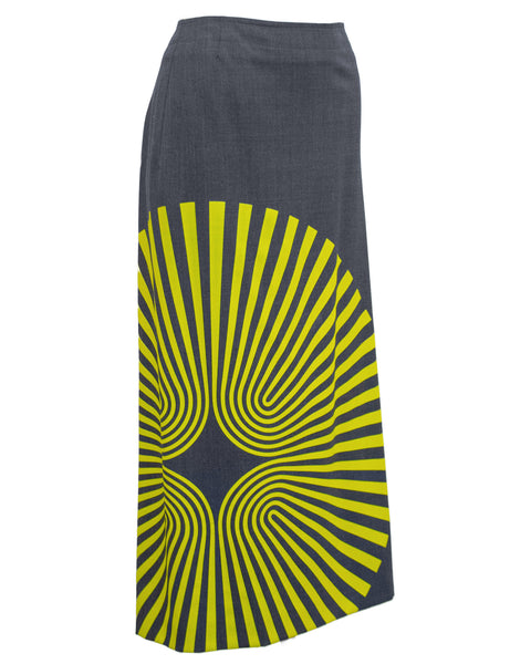 Yellow Spiral Print Pencil Skirt in Grey