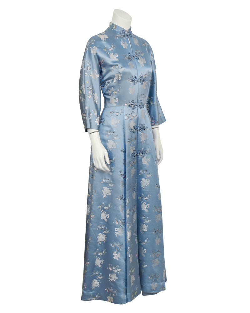 Blue Silk Embroidered Robe