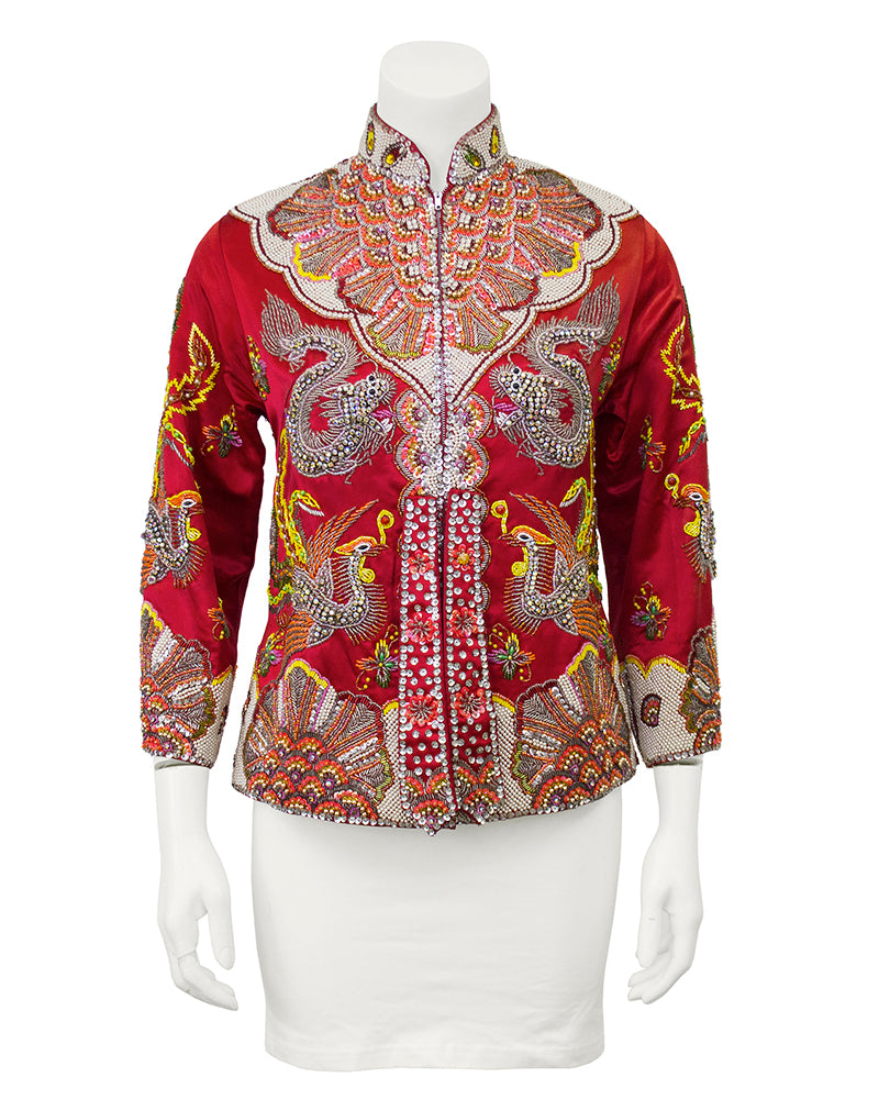 Red Dragon and Phoenix Beaded Jacket