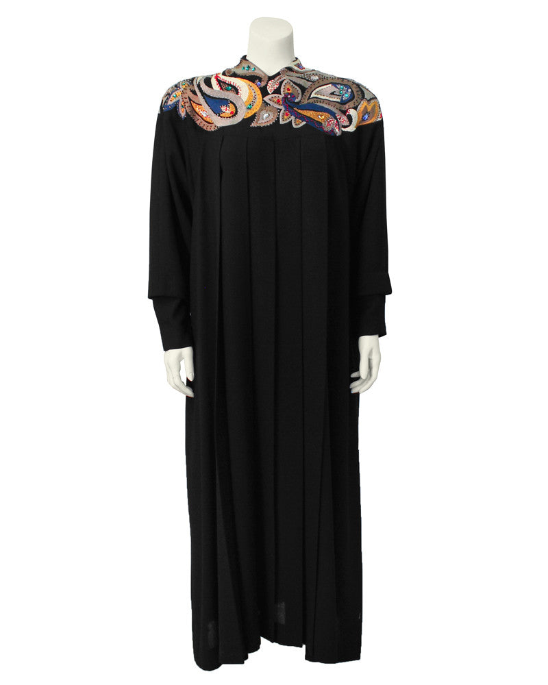 Black wool gown with paisley embroidery