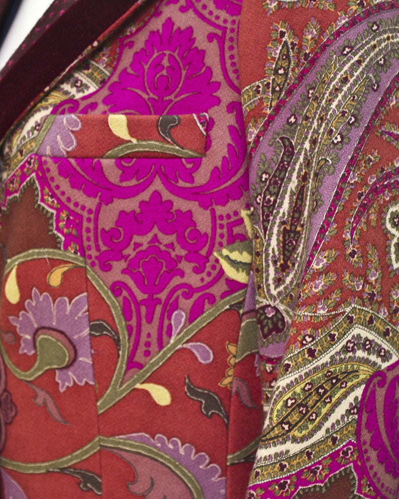 Purple and magenta paisley coat