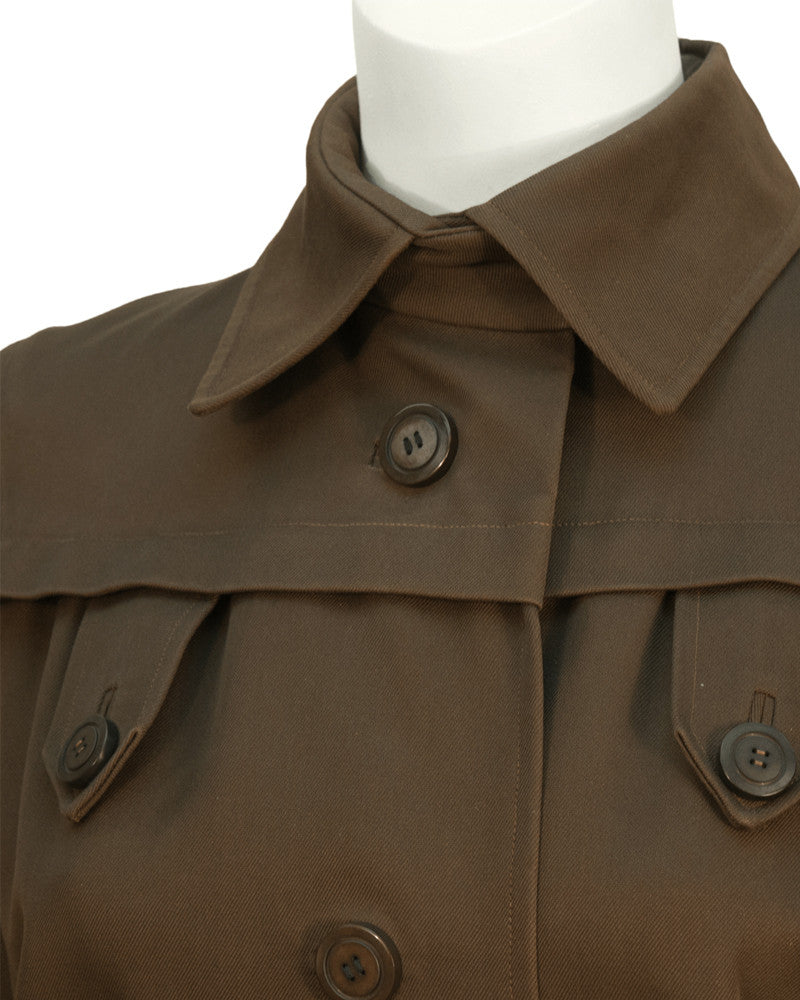Brown Gabardine Spring Weight Coat