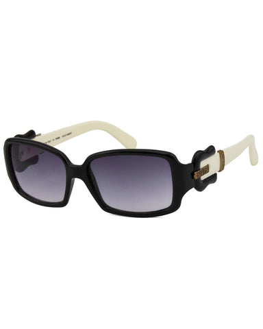 Black & Cream Sunglasses with Buckle Detail